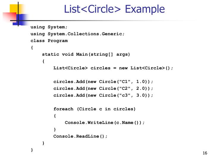 List<Circle> Example