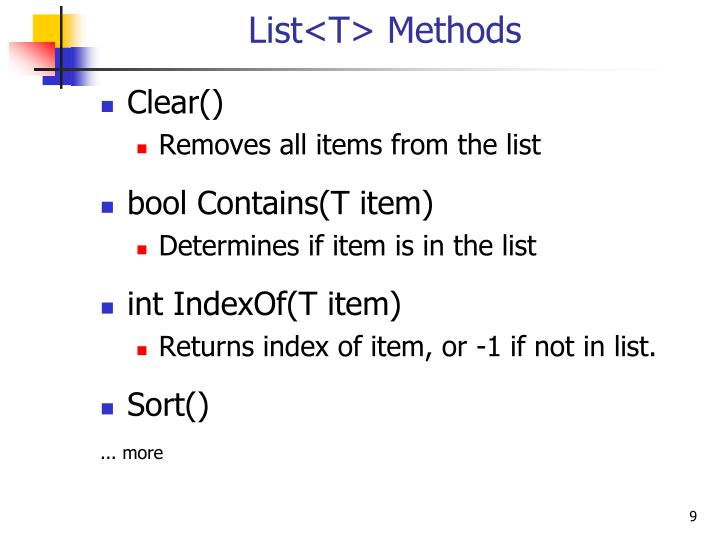 List<T> Methods