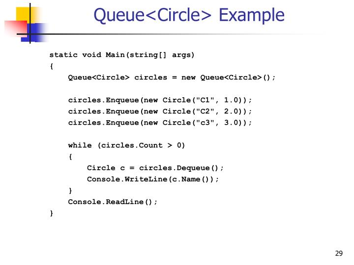 Queue<Circle> Example