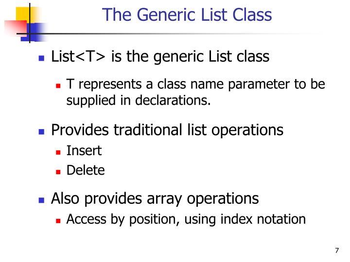 The Generic List Class