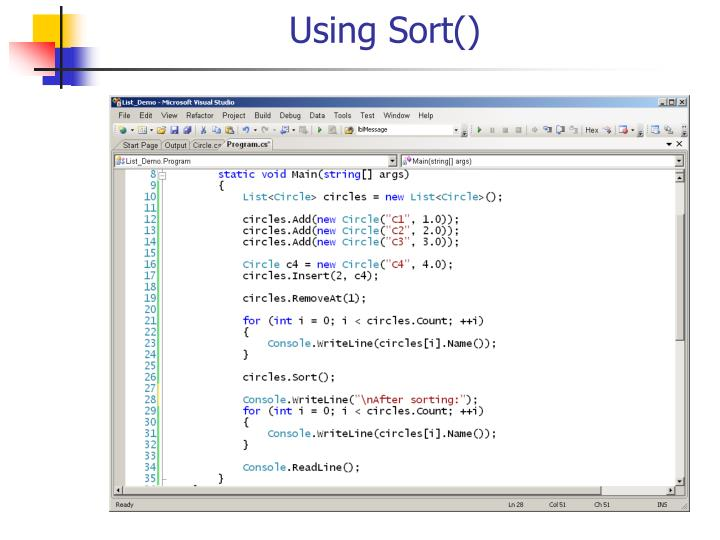 Using Sort()