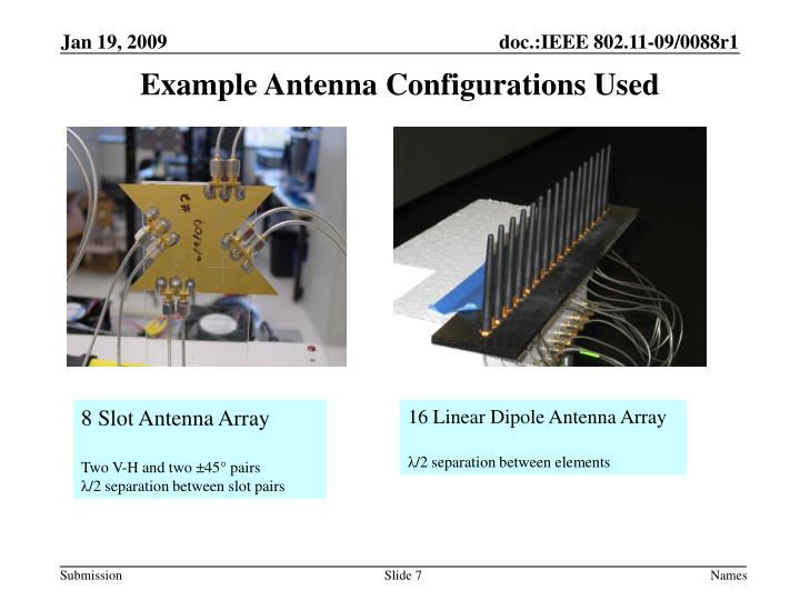 Example Antenna Configurations Used