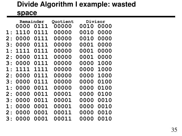 Divide Algorithm I example: wasted space