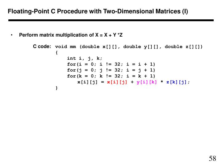 Floating-Point C Procedure with Two-Dimensional Matrices (I)