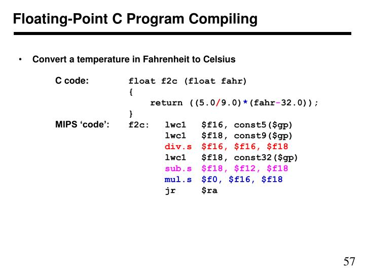 Floating-Point C Program Compiling