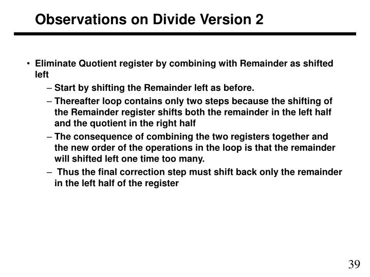Observations on Divide Version 2