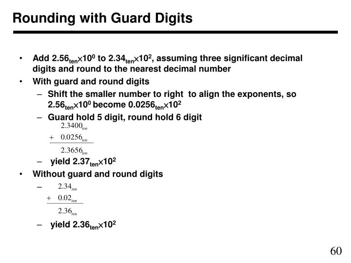 Rounding with Guard Digits