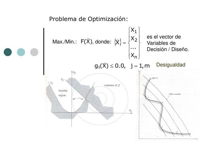 es el vector de Variables de Decisión / Diseño.