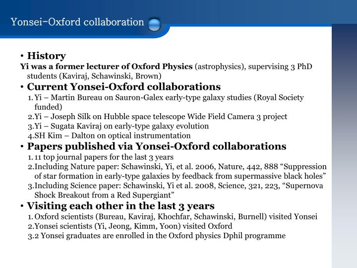 Yonsei-Oxford collaboration