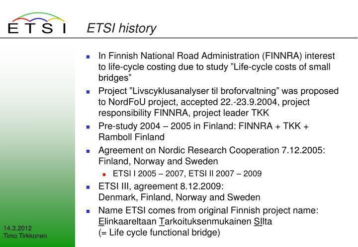 ETSI history