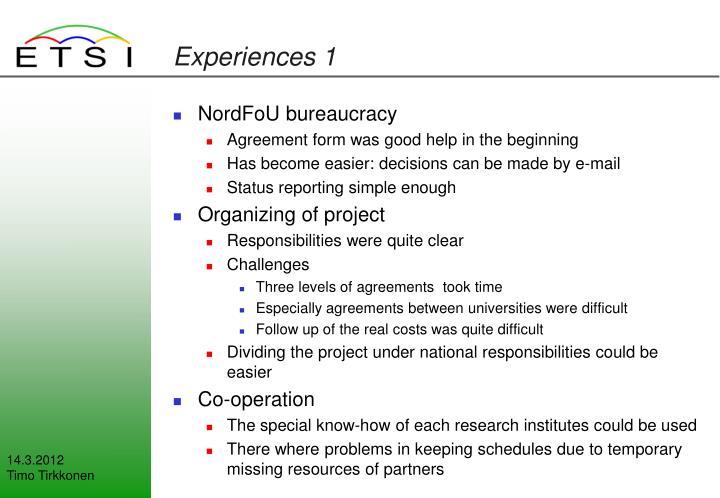 Experiences 1