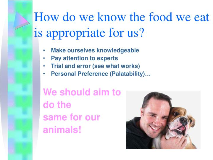How do we know the food we eat is appropriate for us?