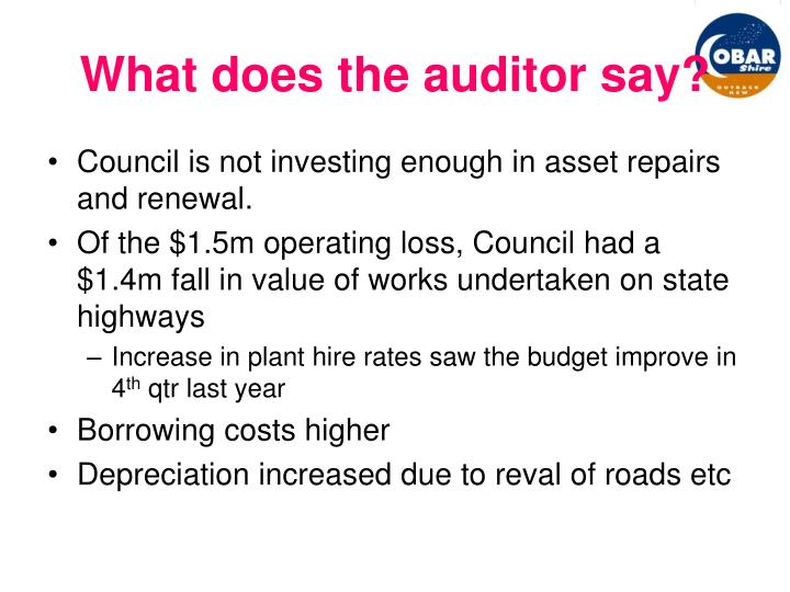 What does the auditor say?