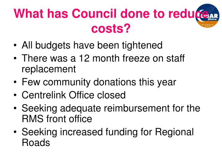 What has Council done to reduce costs?