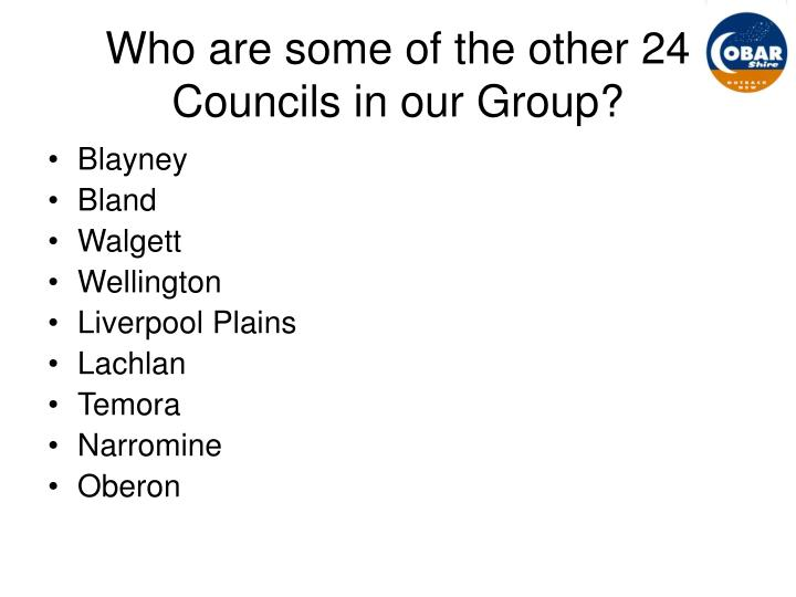 Who are some of the other 24 Councils in our Group?