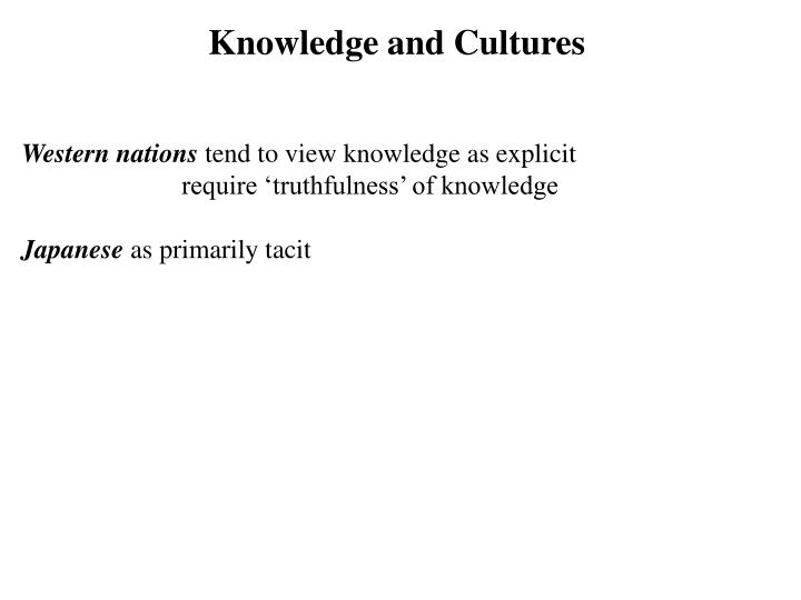 Knowledge and Cultures