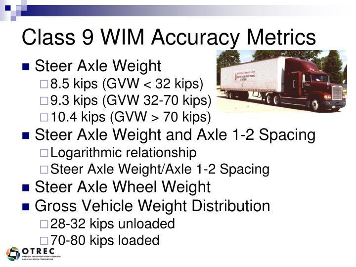 Class 9 WIM Accuracy Metrics