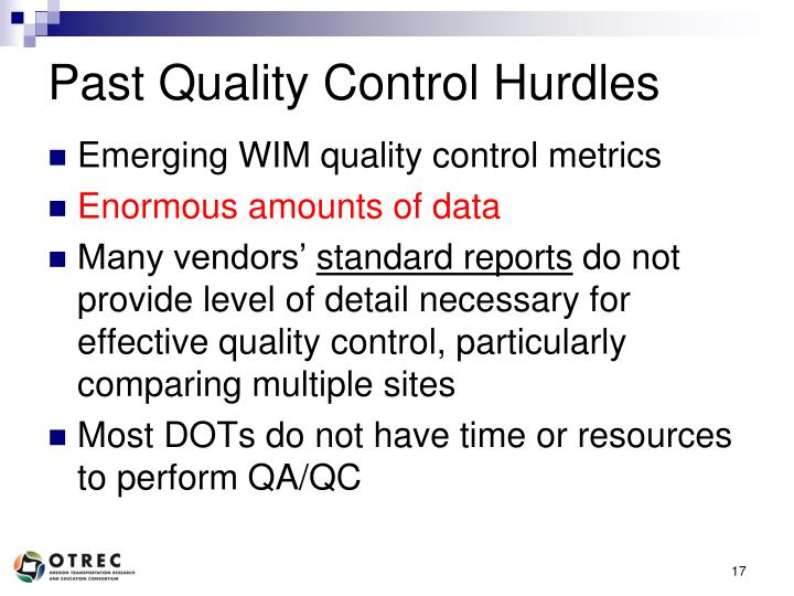 Past Quality Control Hurdles