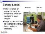 sorting lanes