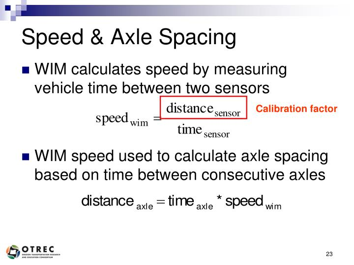 Speed & Axle Spacing