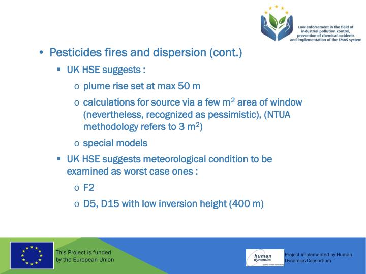 Pesticides fires and dispersion (cont.)