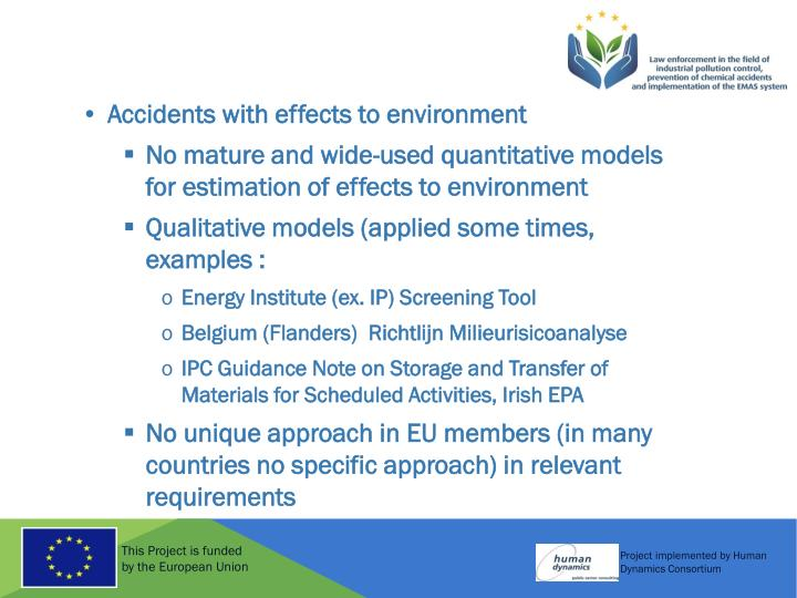 Accidents with effects to environment