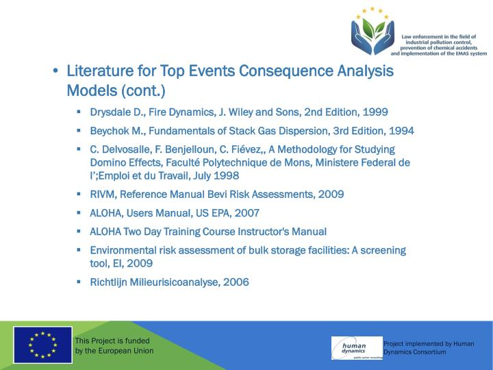 Literature for Top Events Consequence Analysis Models (cont.)