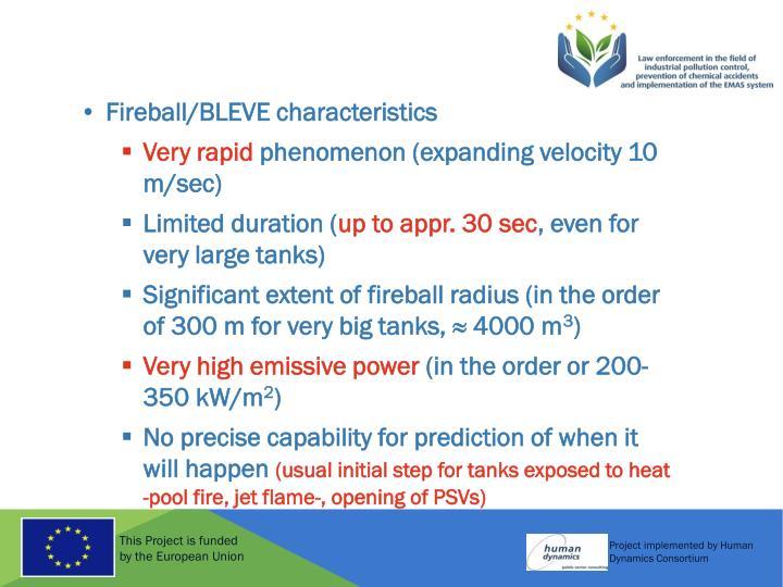Fireball/BLEVE characteristics