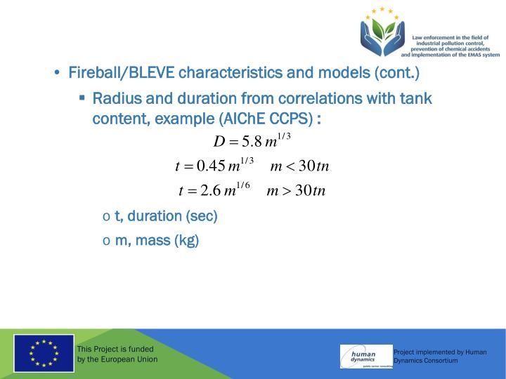 Fireball/BLEVE characteristics and models (cont.)