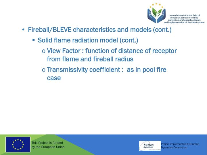Fireball/BLEVE characteristics and models