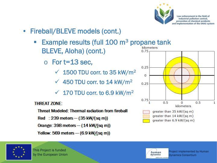 Fireball/BLEVE models (cont.)
