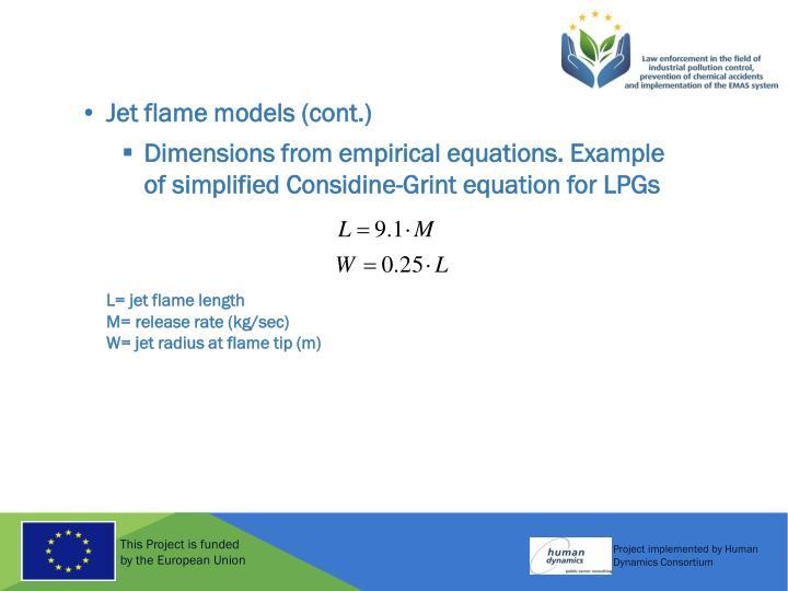 Jet flame models (cont.)