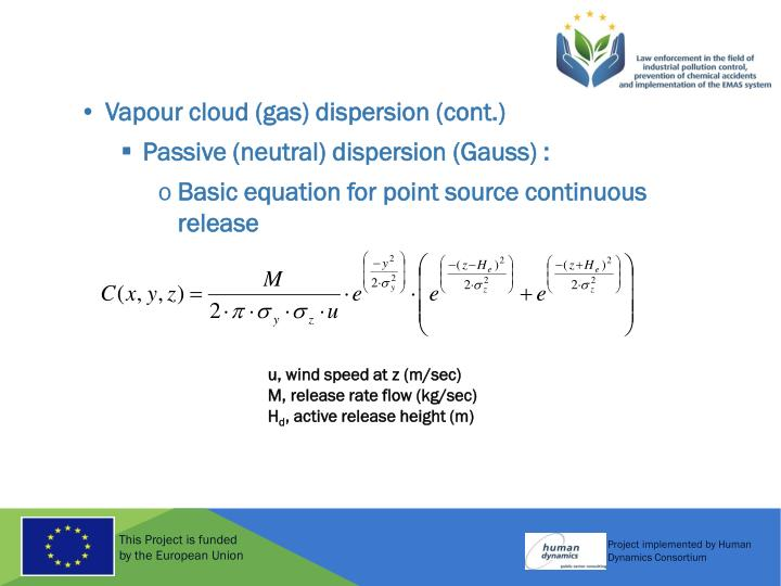 Vapour cloud (gas) dispersion (cont.)