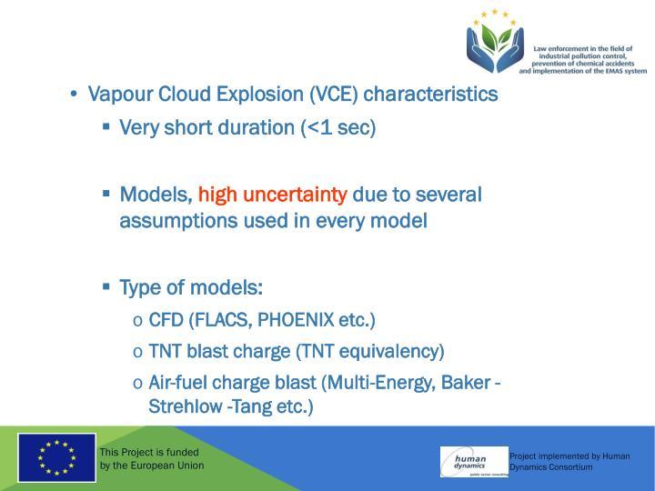 Vapour Cloud Explosion (VCE) characteristics