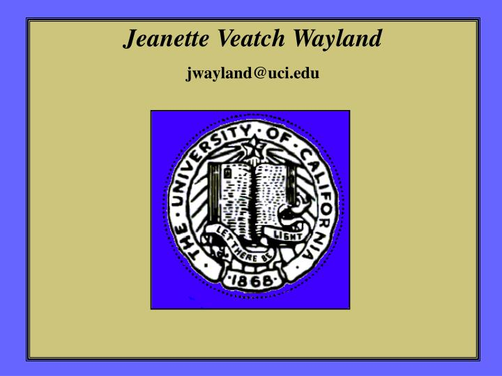 Jeanette Veatch Wayland