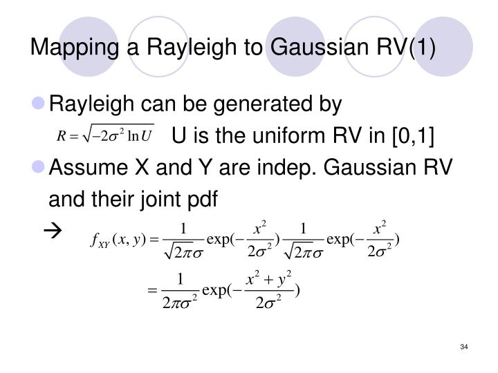 Mapping a Rayleigh to Gaussian RV(1)