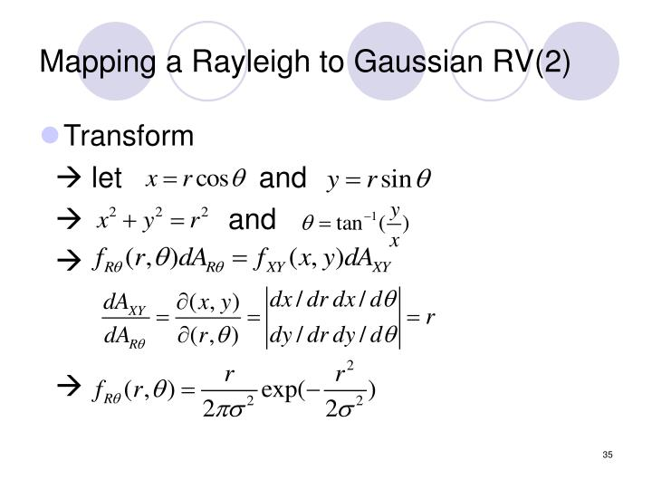 Mapping a Rayleigh to Gaussian RV(2)