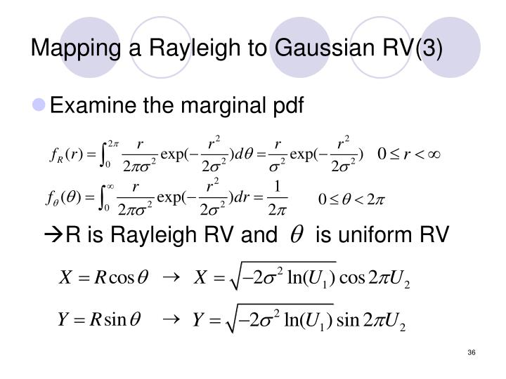 Mapping a Rayleigh to Gaussian RV(3)