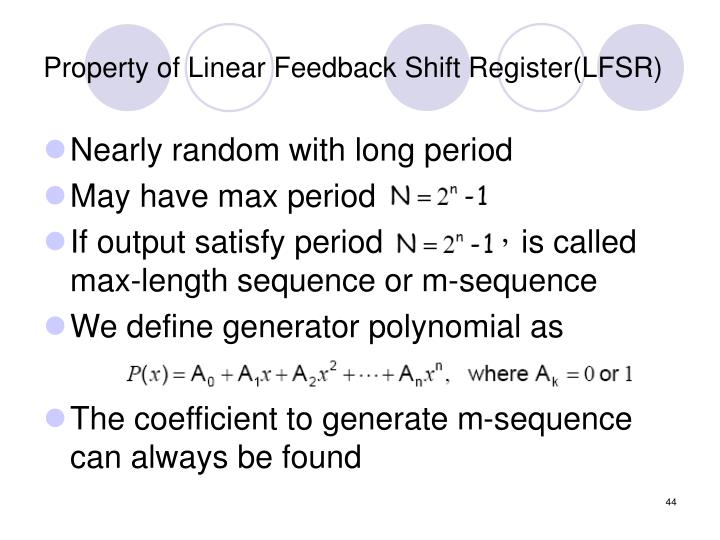 Property of Linear Feedback Shift Register(LFSR)