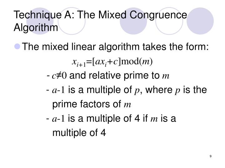 Technique A: The Mixed Congruence Algorithm