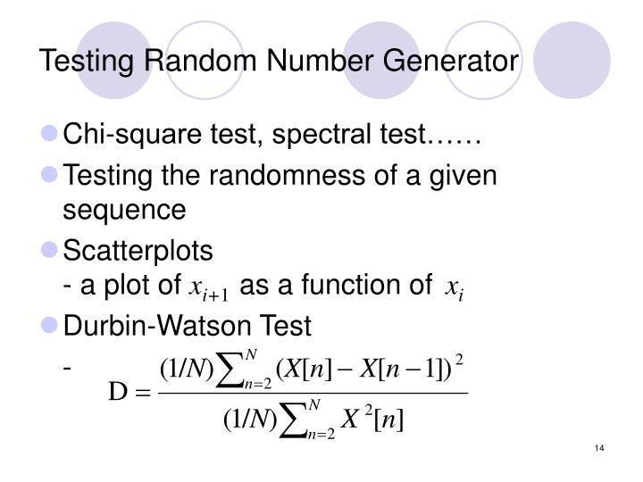 Testing Random Number Generator
