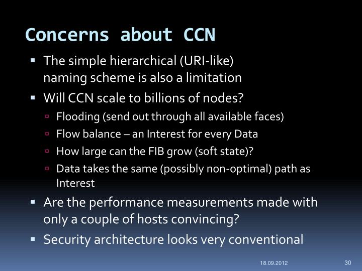 Concerns about CCN