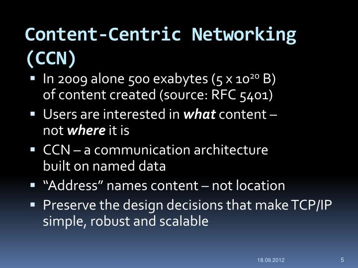 Content-Centric Networking (CCN)