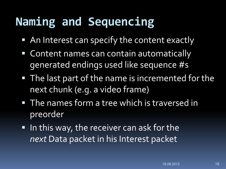 Naming and Sequencing