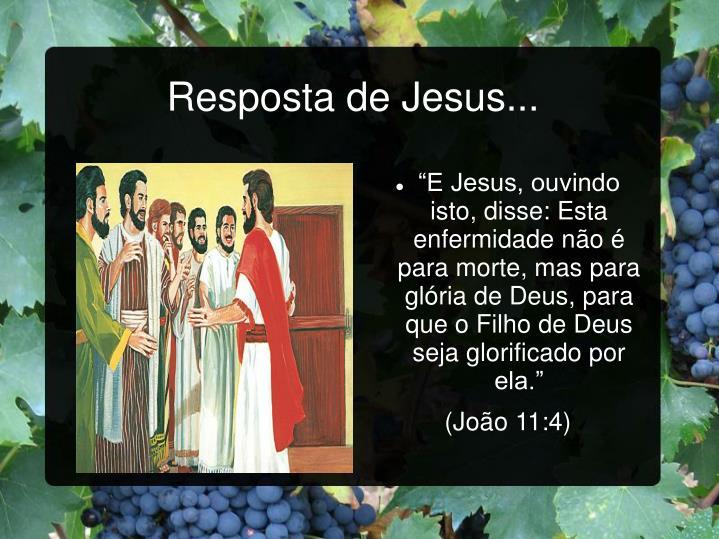 Resposta de Jesus...