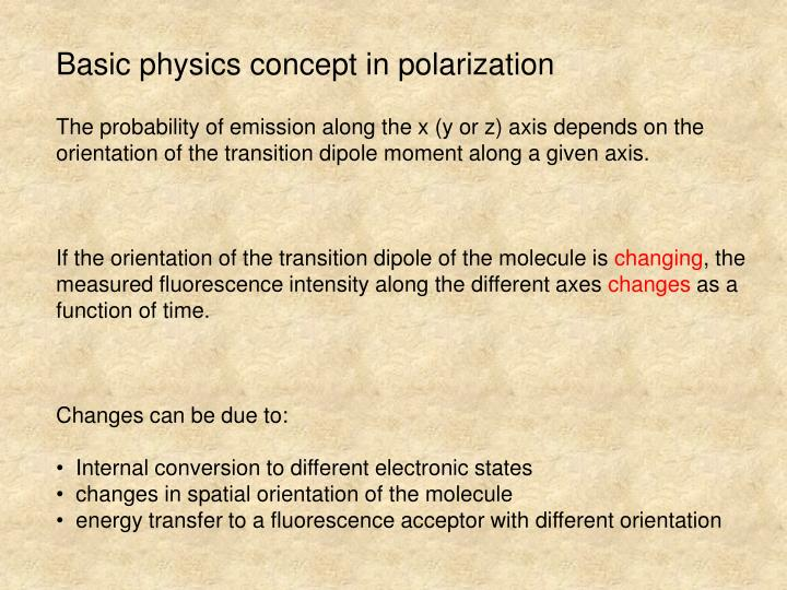 Basic physics concept in polarization