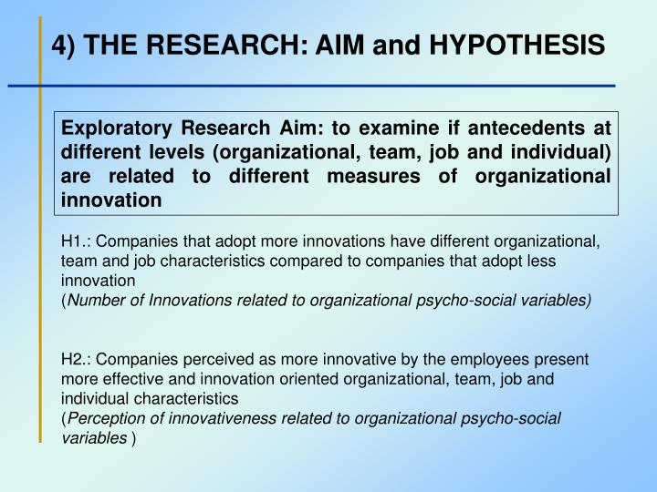 4) THE RESEARCH: AIM and HYPOTHESIS