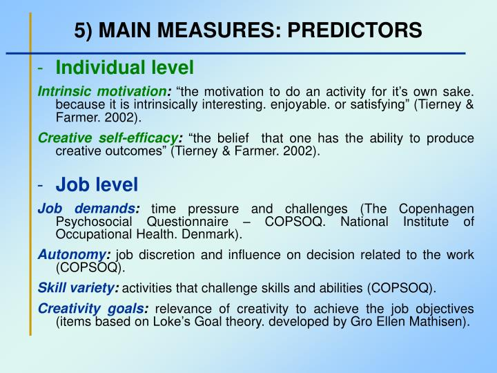 5) MAIN MEASURES: PREDICTORS