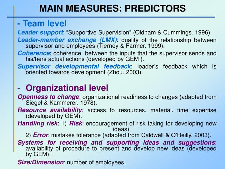 MAIN MEASURES: PREDICTORS