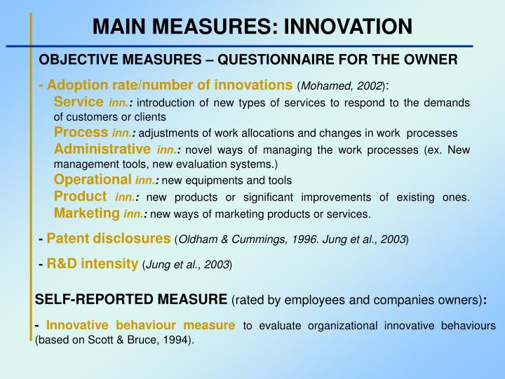 MAIN MEASURES: INNOVATION